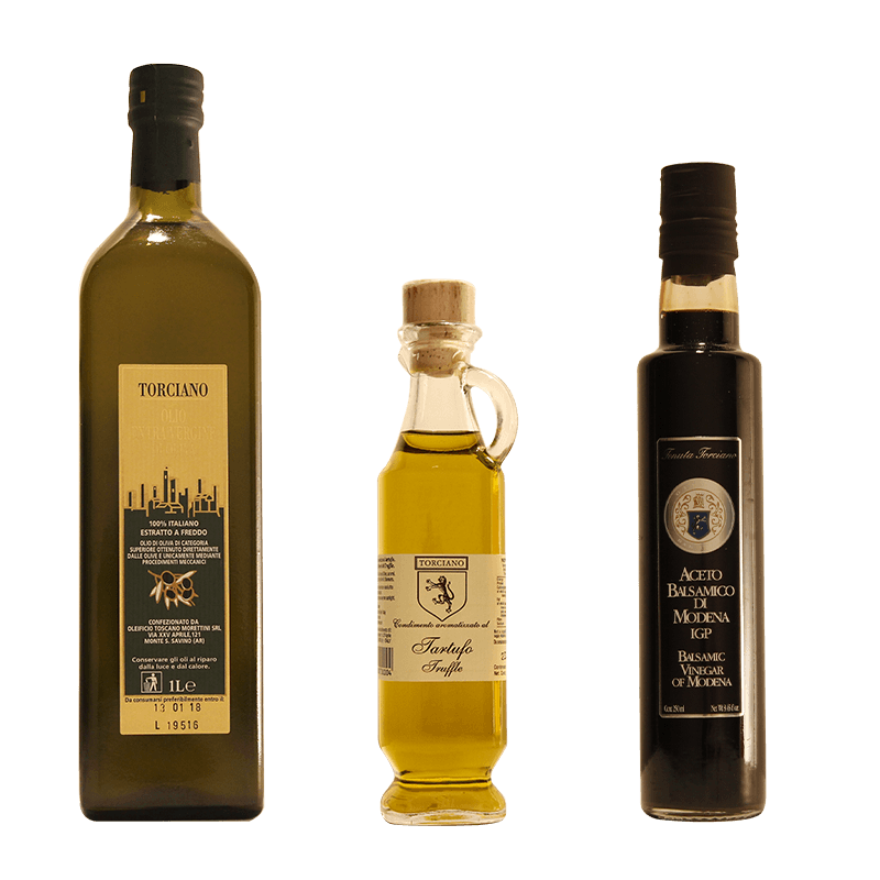 Extra Virgin Olive Oil, Truffle Olive Oil, Balsamic Vinegar - 3 Bottles